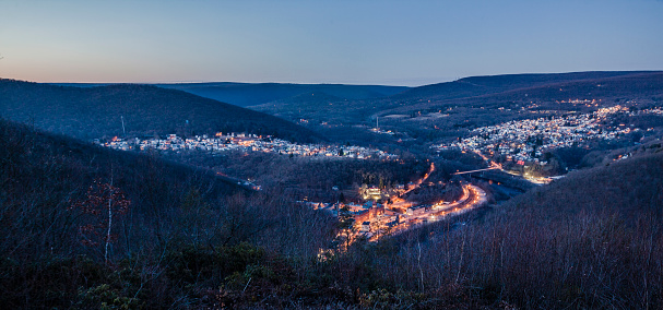 Night scenic view to Jim Thorpe (Mauch Chunk) from the Flagstaff Mountain, Pennsylvania