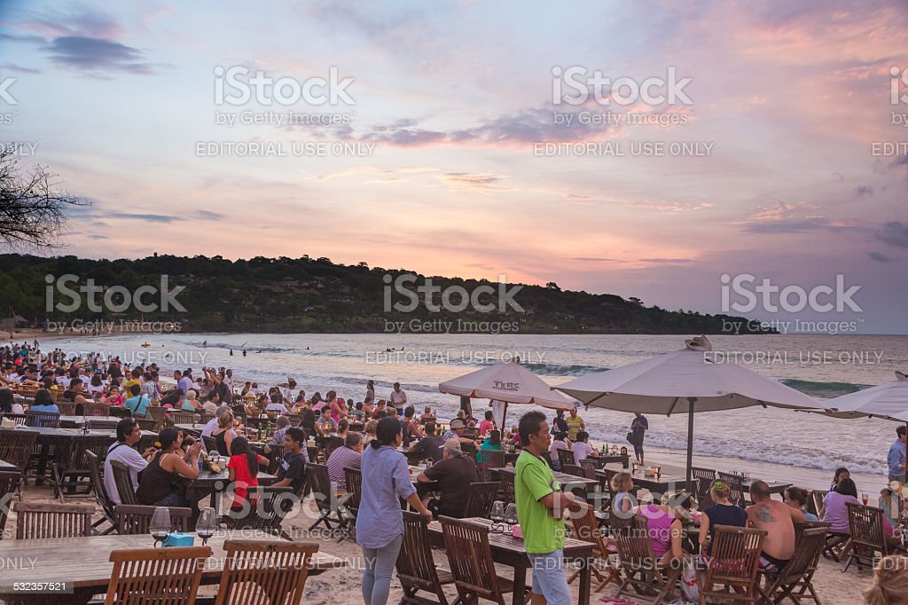 Jimbaran beach restaurants stock photo