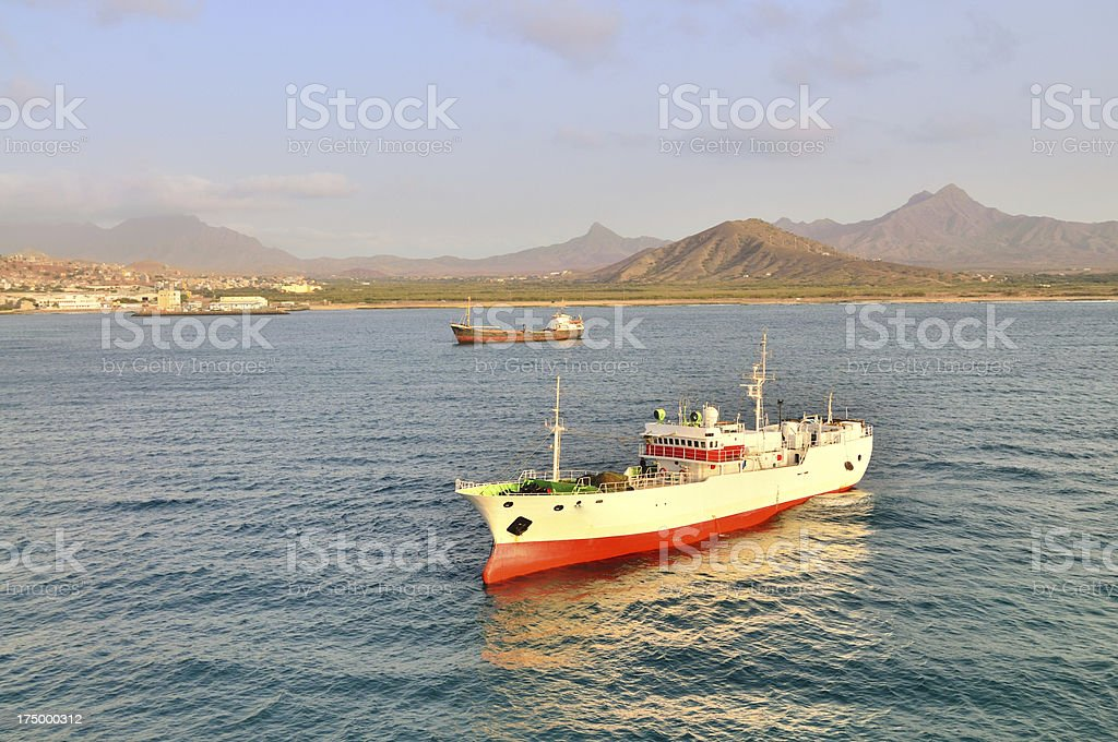 Jin Feng Cargo Ship At Mindelo stock photo