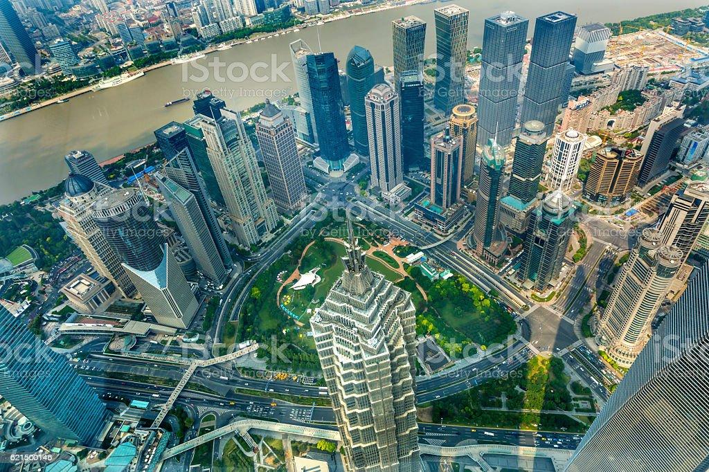 Jin Mao Tower Skyscraper Huangpu River Liujiashui Shanghai China photo libre de droits
