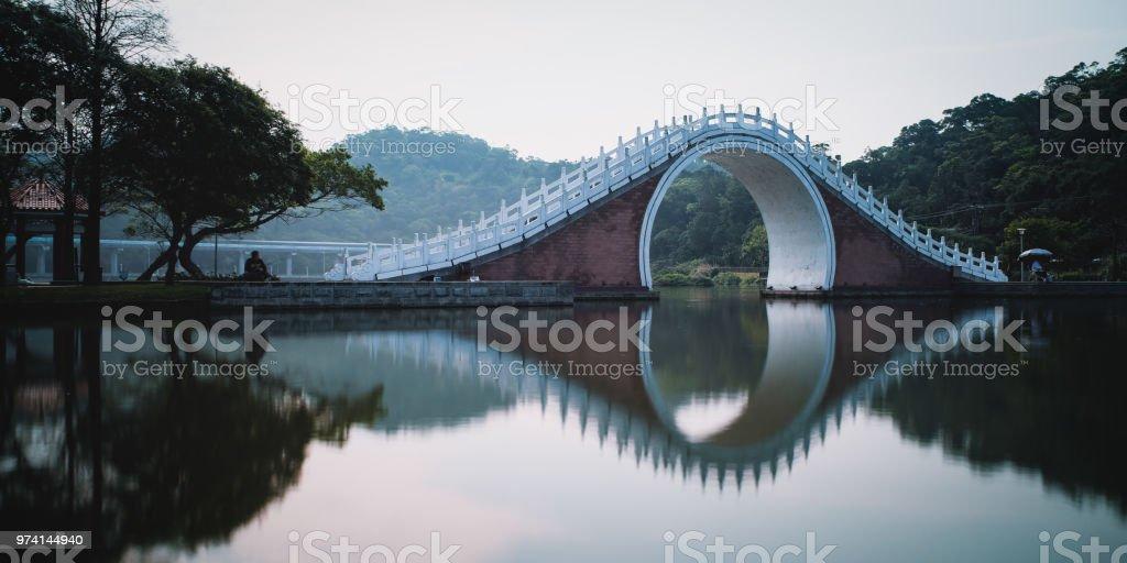 Jindai Bridge of Dahu Park in Neihu District, Taipei, Taiwan. stock photo