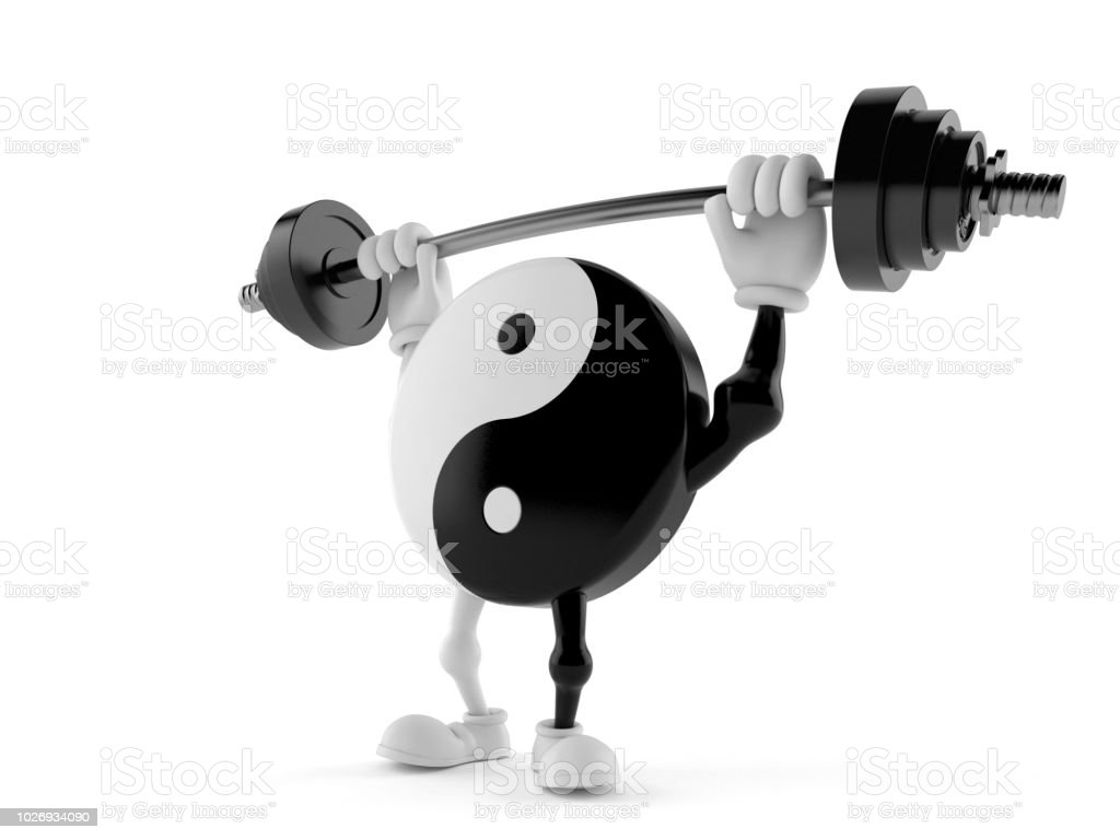 Jing Jang character lifting heavy barbell stock photo