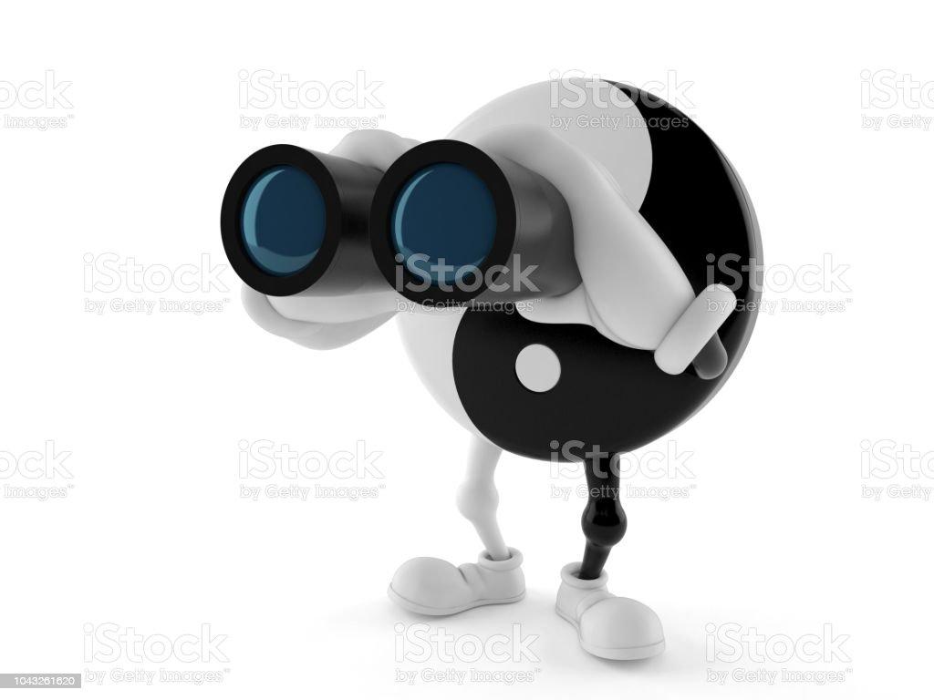 Jing Jang character looking through binoculars stock photo