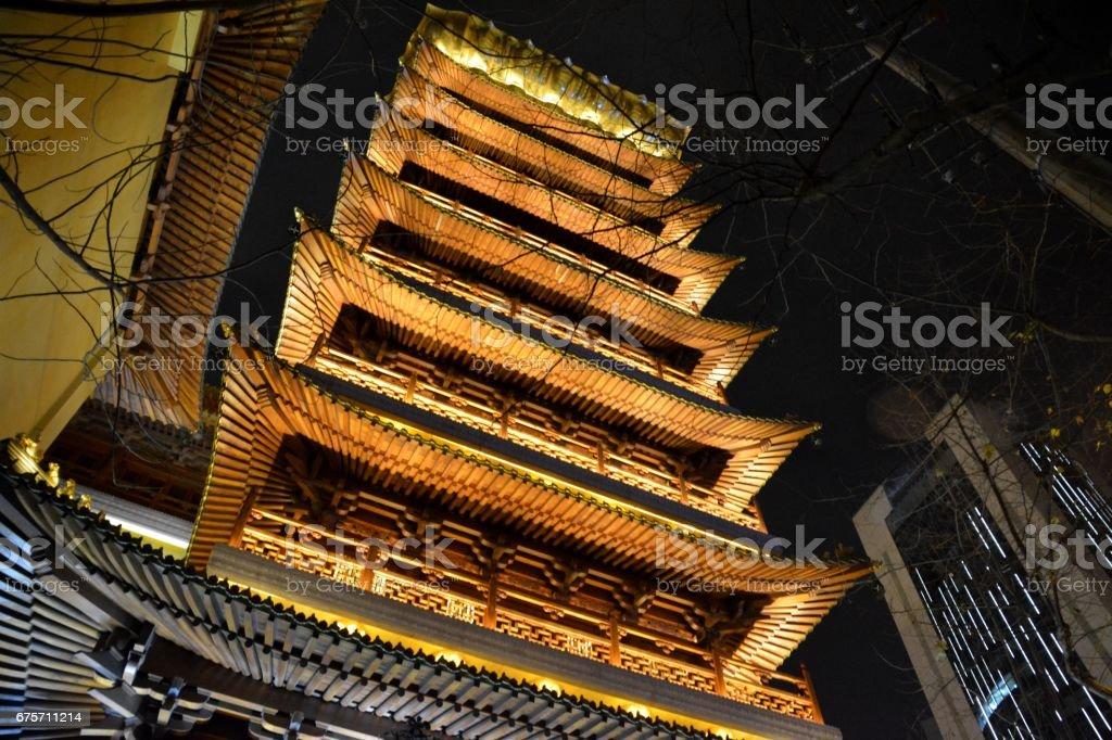到晚上,上海市靜安寺 免版稅 stock photo