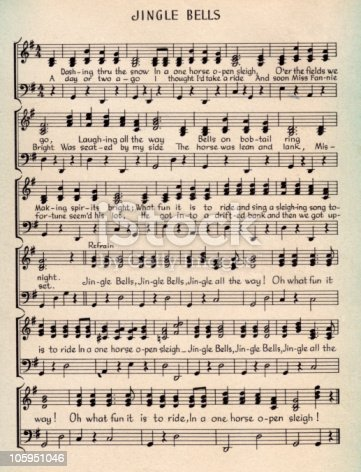 Jingle Bells Christmas Carol Music Score Stock Photo ...