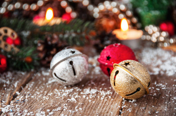 jingle bells close-up. christmas background - bell stock pictures, royalty-free photos & images