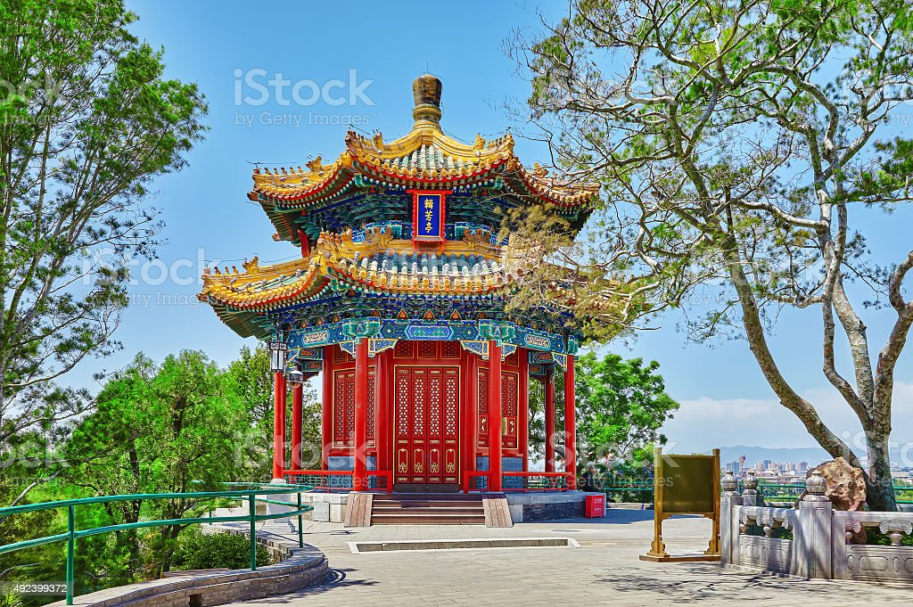 Jingshan Park, Beijing, Pavilion or the Coal Mountain stock photo