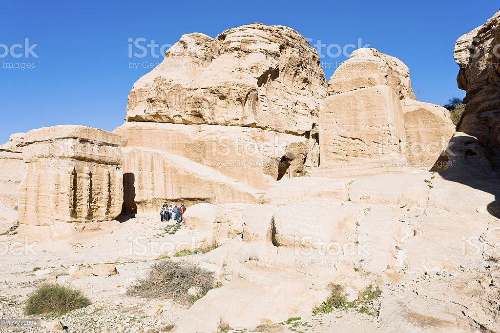 Jinn Blocks and relief of obelisk in Bab as-Siq, Petra, stock photo
