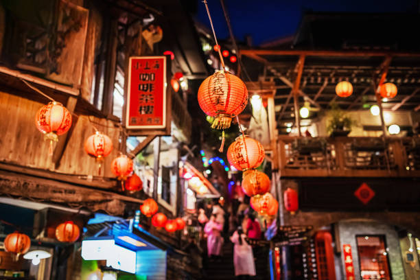 Jioufen Taiwan Red Lantern at Night Typical taiwanese red lanterns in the alleys and streets of Jiufen at night. Selective Focus. Jioufen, Taiwan, Asia taiwan stock pictures, royalty-free photos & images