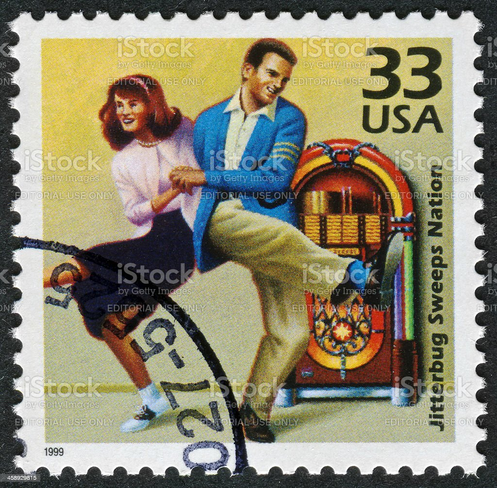 Jitterbug Sweeps Nation Stamp royalty-free stock photo