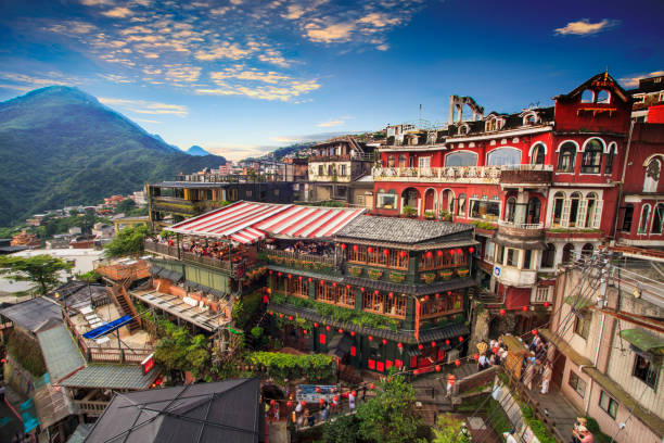 Jiufen, Taipei, Taiwan. The meaning of the Chinese text in the picture is the red globe of Jiufen The Jiufen, Taipei, Taiwan. The meaning of the Chinese text in the picture is the red globe of Jiufen taiwan stock pictures, royalty-free photos & images