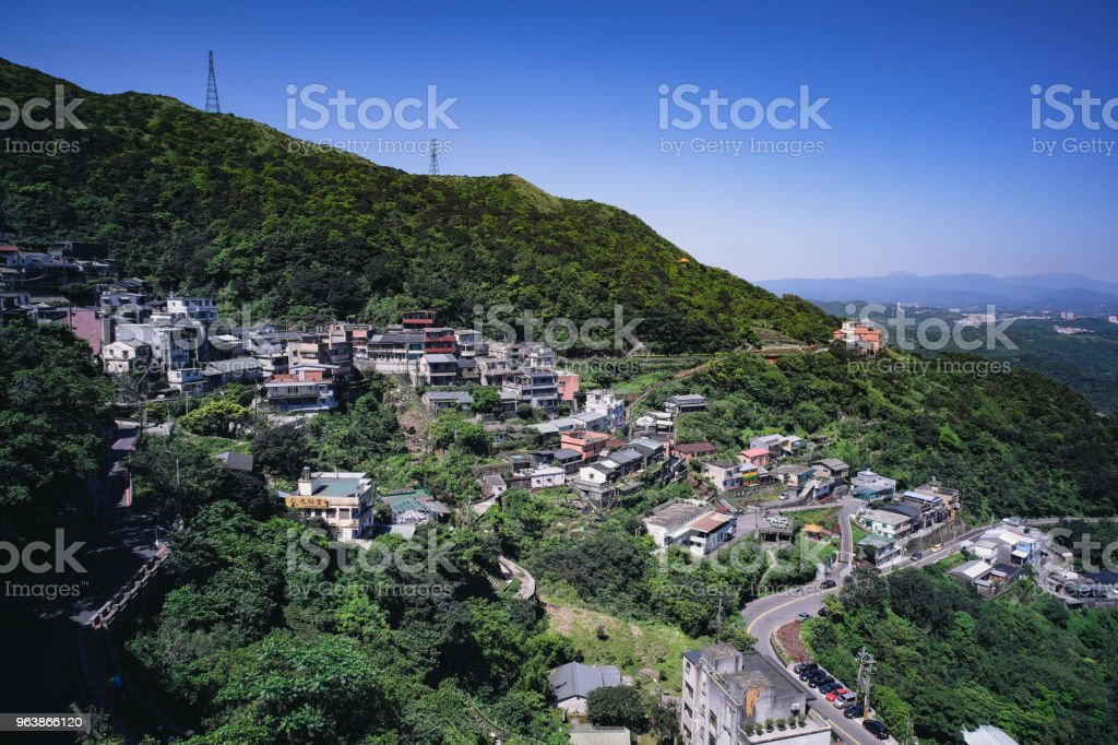 Jiufen/Chiufen in Ruifang District, New Taipei City, Taiwan. - Royalty-free Aerial View Stock Photo