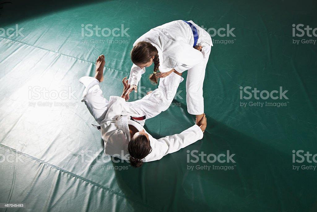 Jiu-Jitsu, Open Guard position stock photo