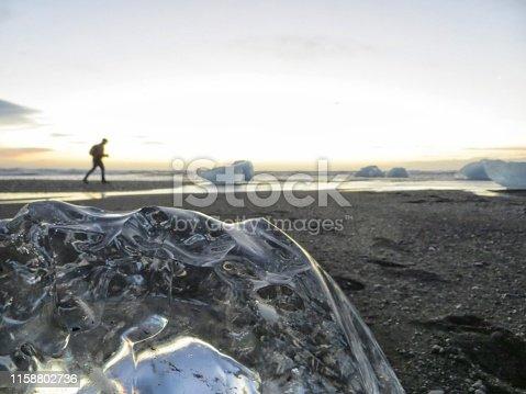 Chunks of ice on the beach.