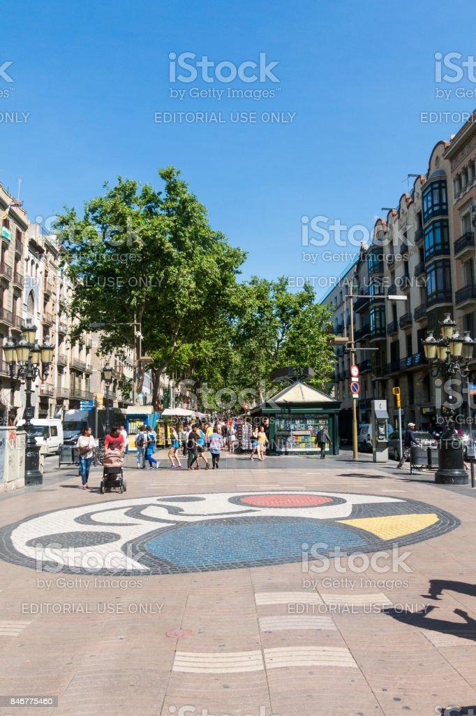 Joan Miro's Pla de l'Os mosaic in La Rambla. Barcelona, Spain stock photo