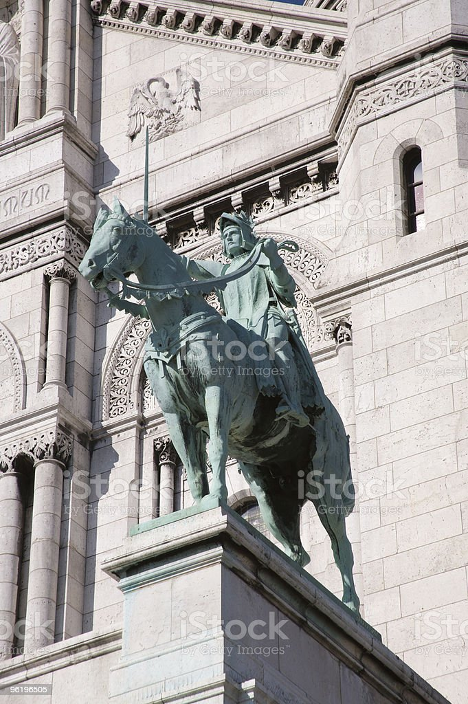 Joan of Arc on a horse stock photo