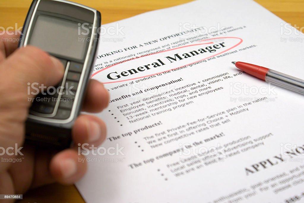Stellenanzeige General Manager Lizenzfreies stock-foto