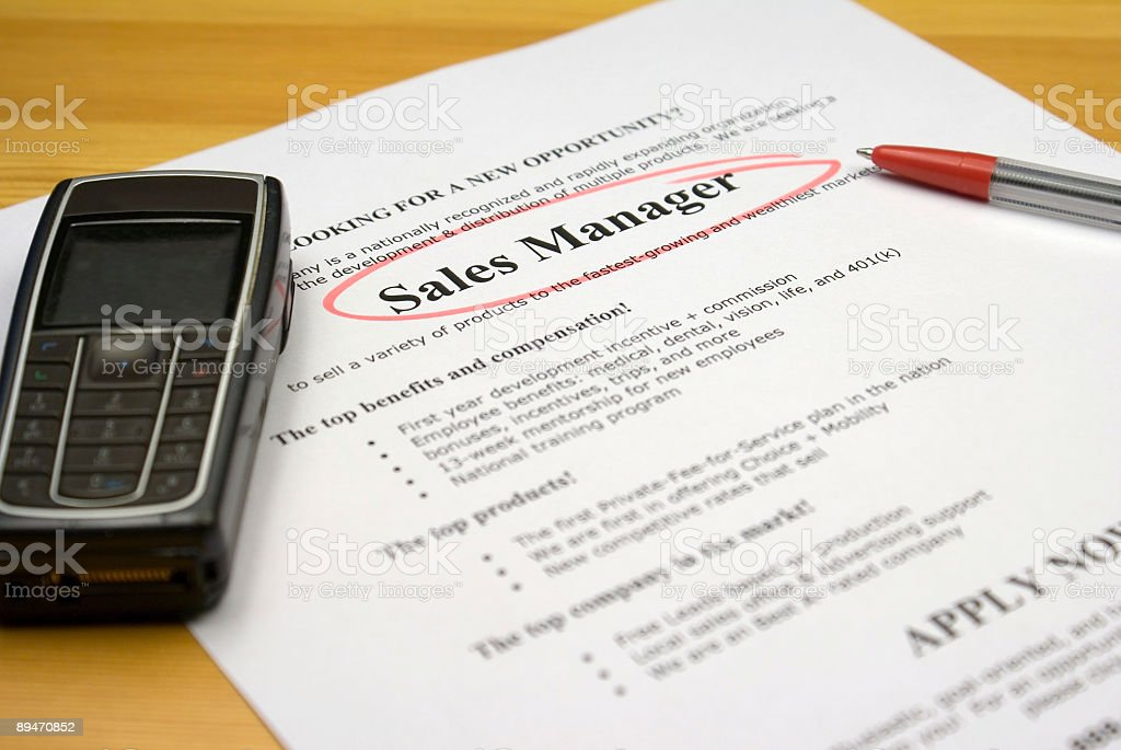 Job Ad Sales Manager royalty-free stock photo