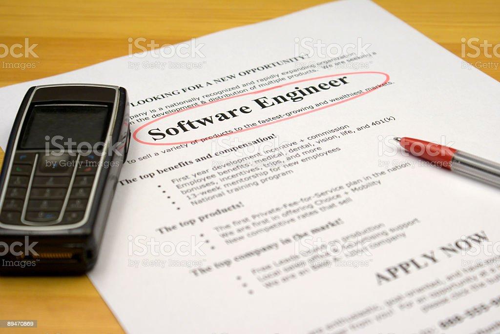 Trabajo Ad Ingeniero de Software foto de stock libre de derechos