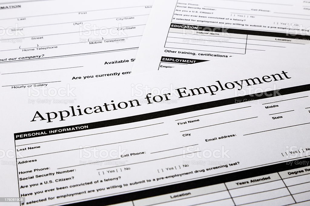 Job application form royalty-free stock photo