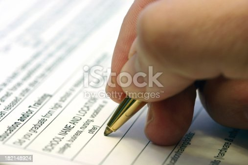 a man filling out a job application