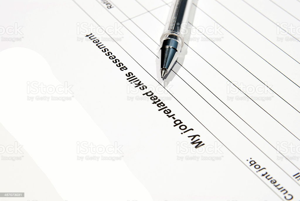 job assessment form royalty-free stock photo