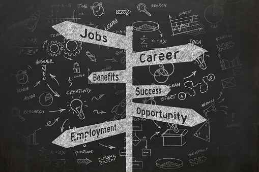 istock Job career direction sign business strategy 1069946316