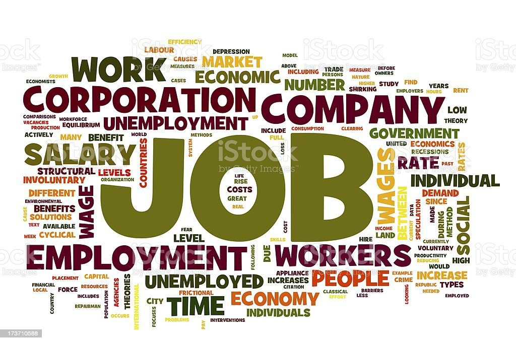 Job concept in word tag cloud royalty-free stock photo