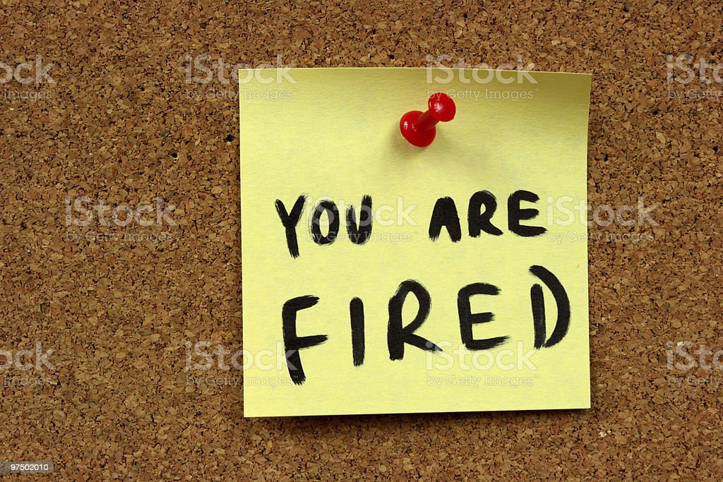 Job dismissal notice stock photo