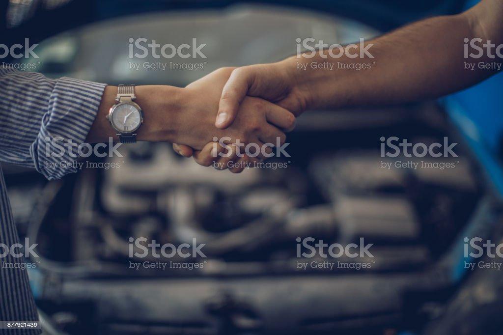 Job done handshake stock photo