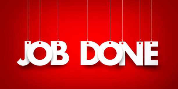 Job zu erledigen. Weiß Wort auf rotem Grund. 3D illustration – Foto