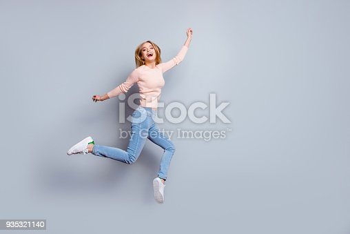 istock Job employment shoes legs laughter person fan concept. Full-length full-size view of laughing feeling good mood pretty businesswoman dressed in jeans denim sweater outfit isolated on gray background 935321140