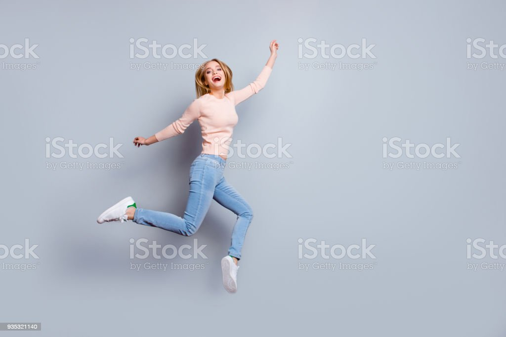 Job employment shoes legs laughter person fan concept. Full-length full-size view of laughing feeling good mood pretty businesswoman dressed in jeans denim sweater outfit isolated on gray background stock photo