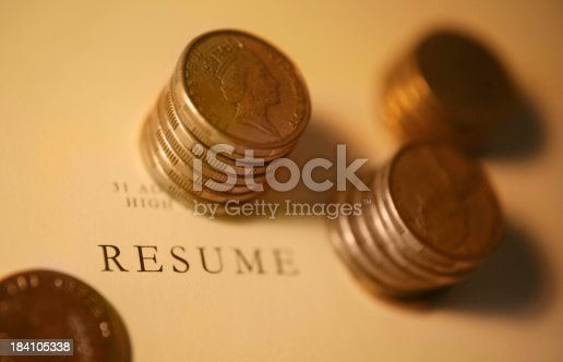 Coins on resume.  Very shallow DOF