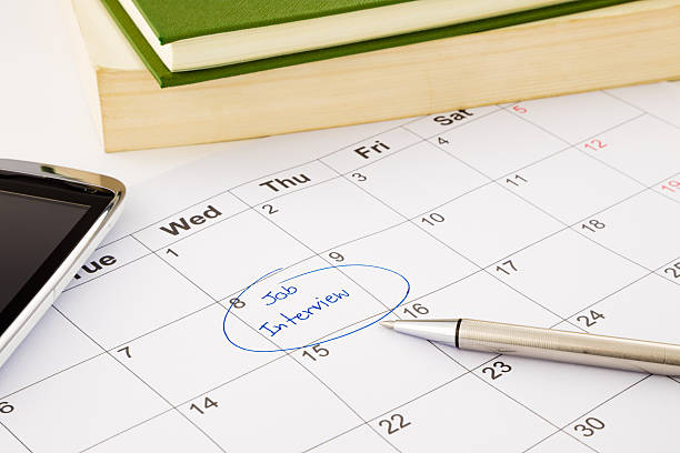Job interview appointment on schedule stock photo