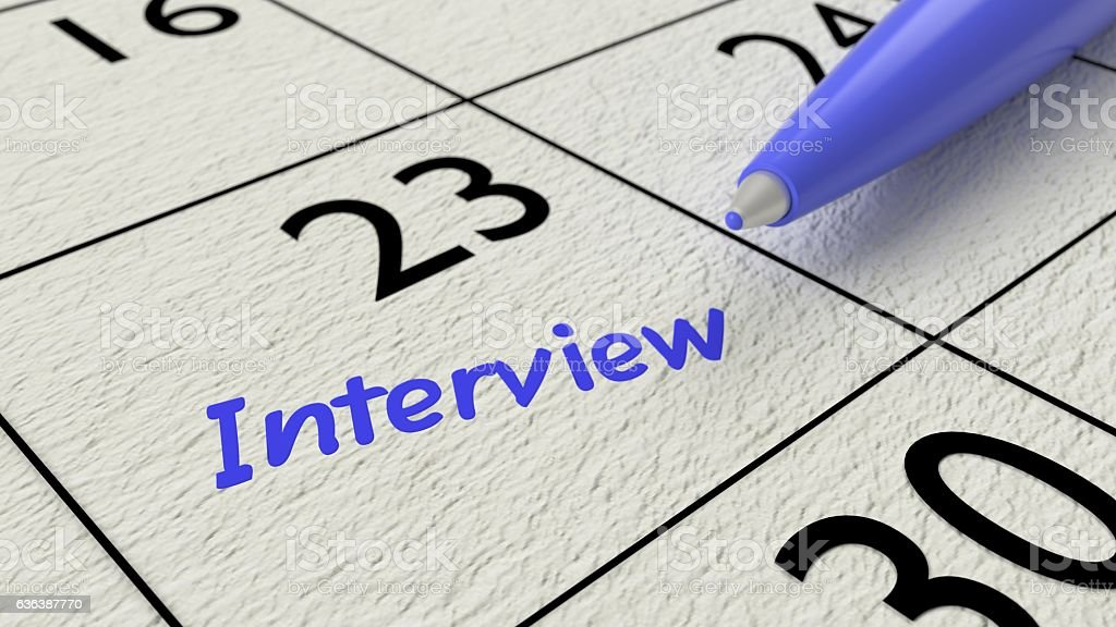 Job interview calendar entry blue ballpen stock photo
