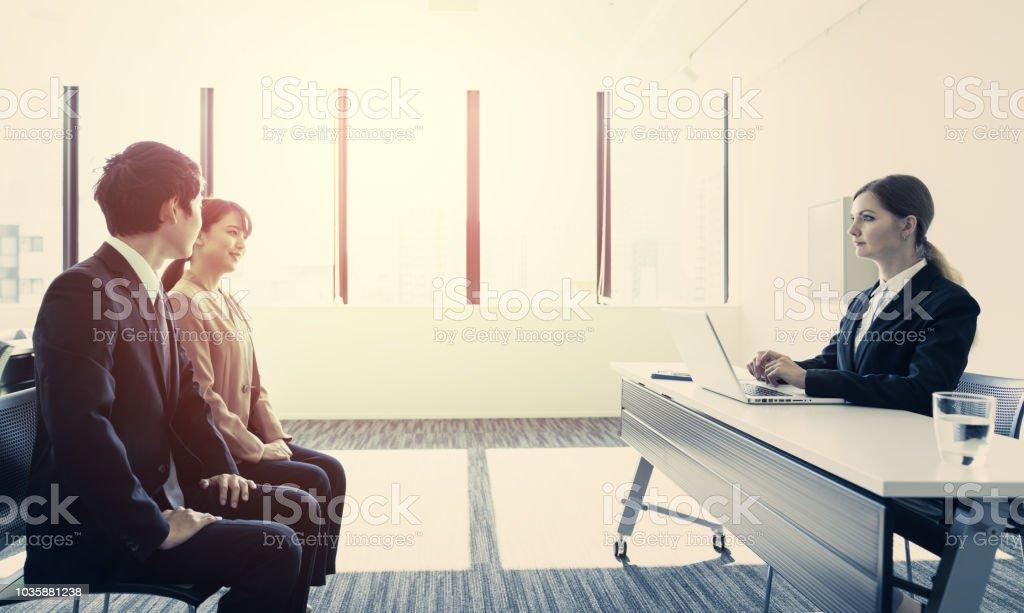 Job interview concept. stock photo