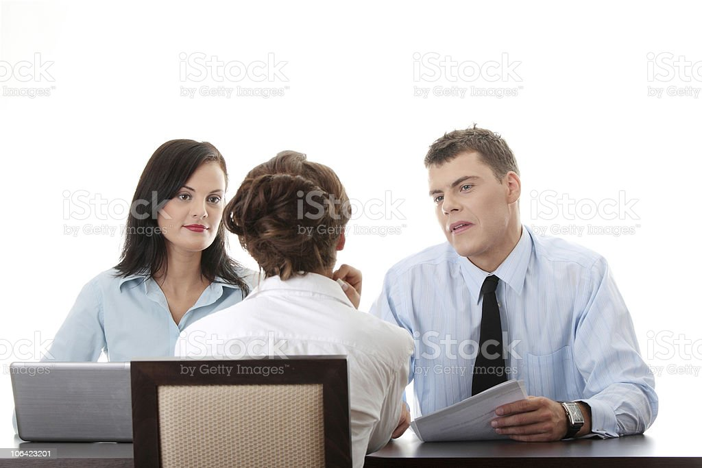 Job interview in progress in corporate setting royalty-free stock photo