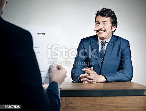 Man lying in a job interview
