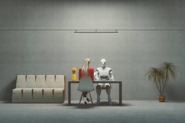 entrevista de trabajo con cyborg futurista - robot fotografías e imágenes de stock