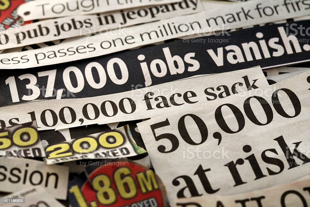 Job loss Newspaper headlines backgroun focusing on job loss and unemployment Backgrounds Stock Photo