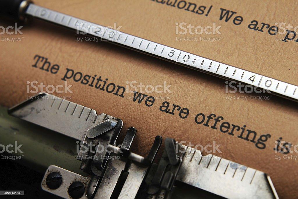 Job offer letter royalty-free stock photo