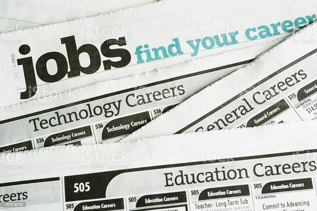 Job Search and Employment, Occupation Opportunity Classified Ad Newspaper Page royalty-free stock photo
