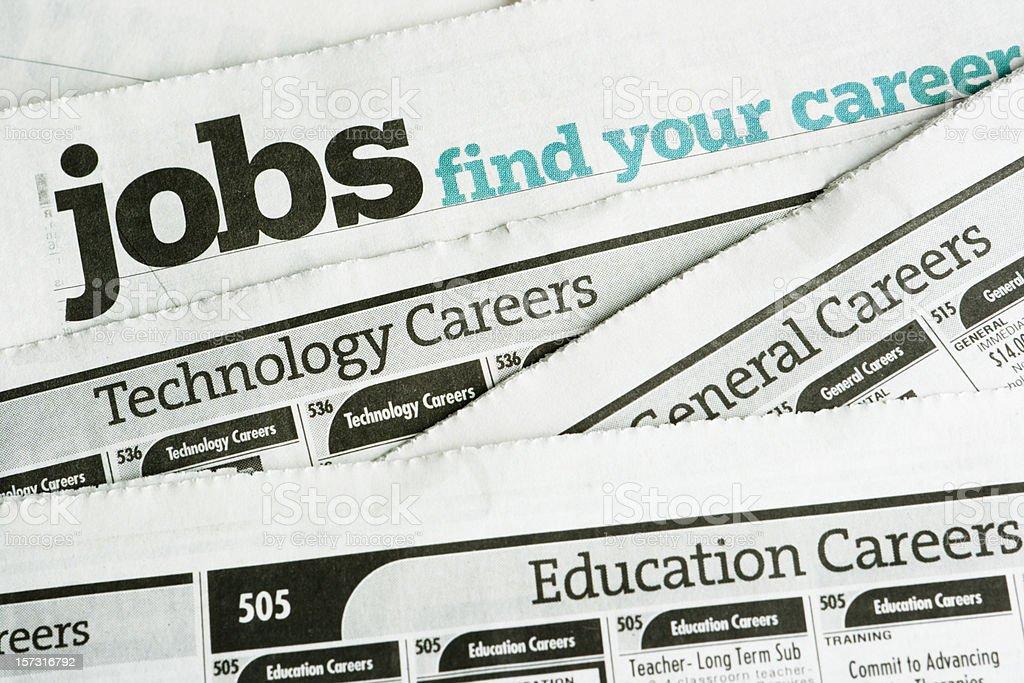 求人情報を検索して、雇用機会、職業新聞求人広告ページ ストックフォト
