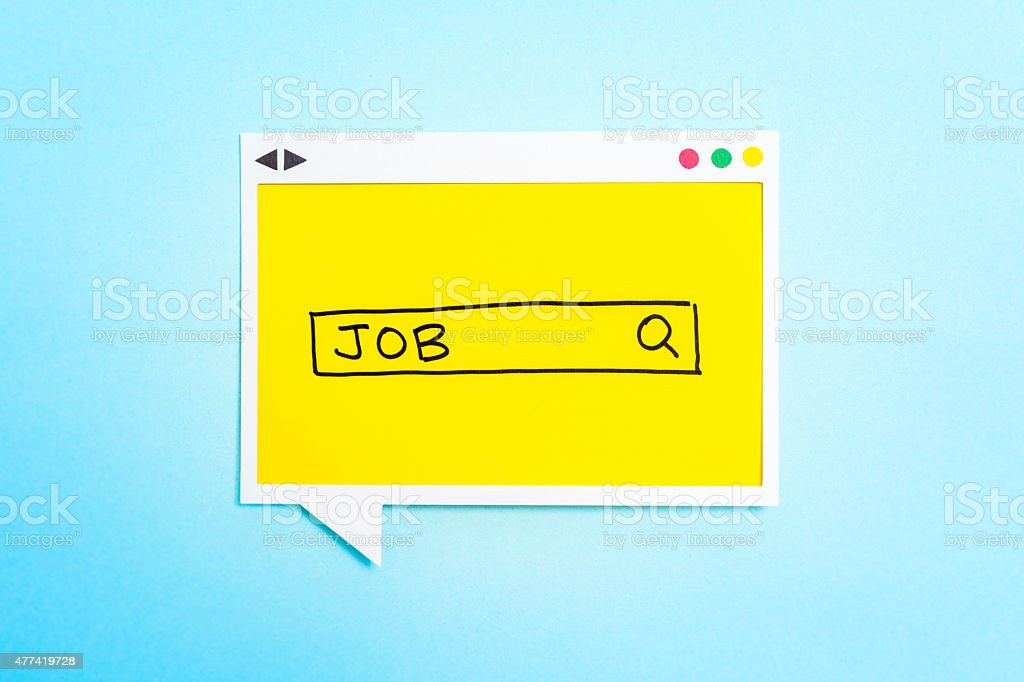Job search form on speech bubble on blue background. stock photo