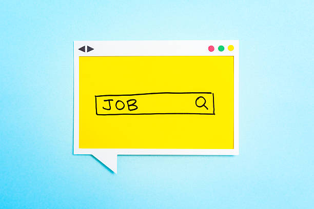 Job-Suche auf Sprechblase auf blauem Hintergrund. – Foto