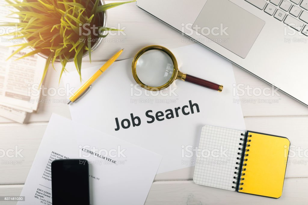 job search items on white table. top view stock photo