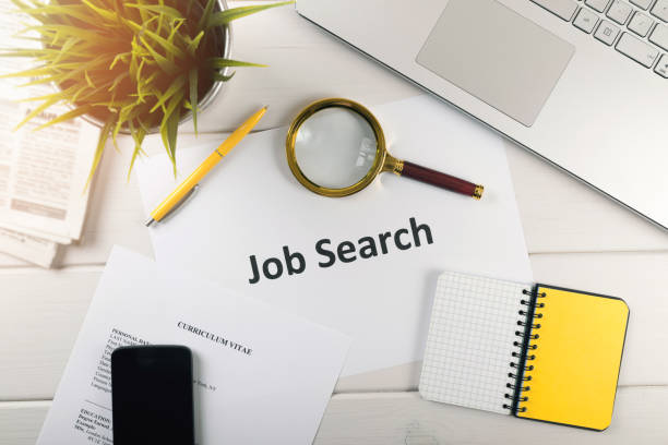 job search items on white table. top view - job search stock photos and pictures