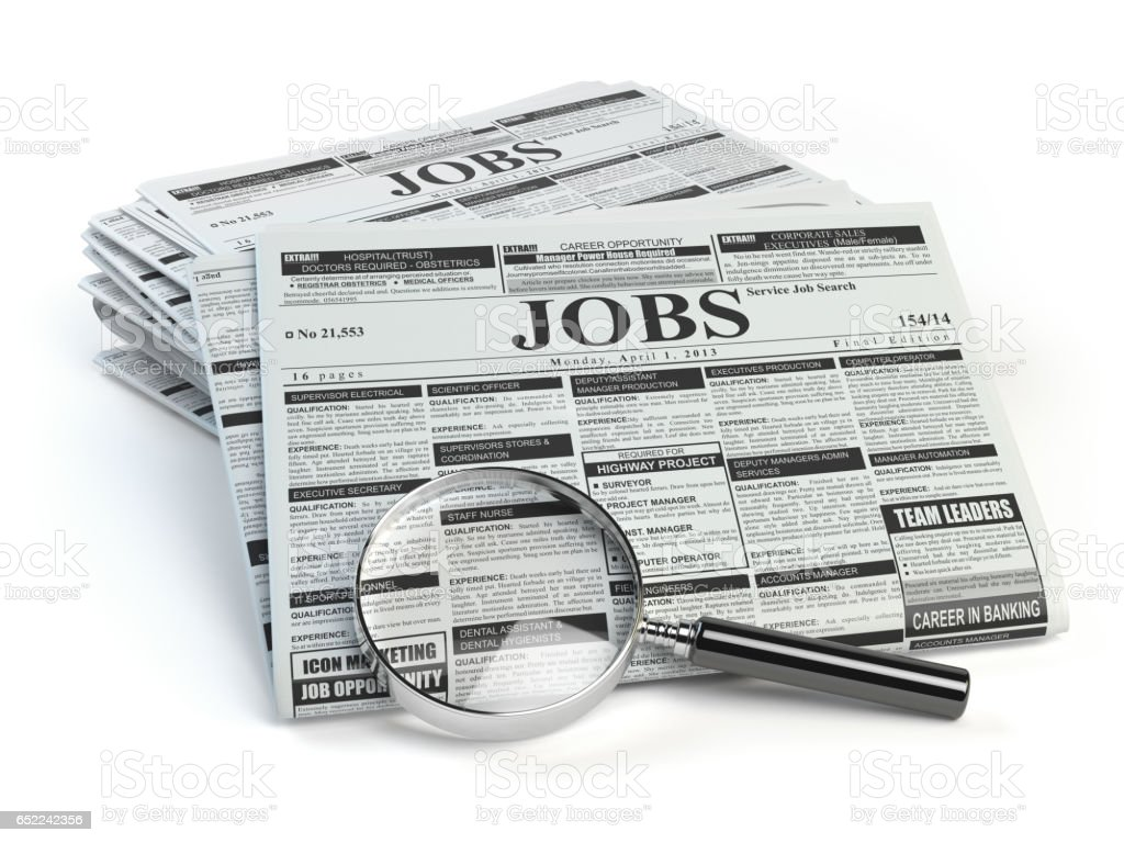 Job Search Loupe With Jobs Classified Ad Newspapers Stock Photo ...