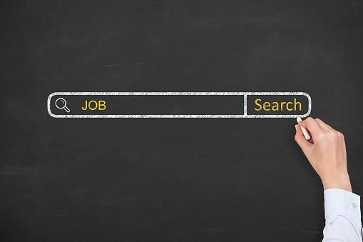 istock Job Search on Chalkboard 501117106
